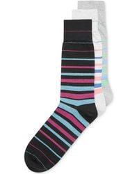Perry Ellis Mens Bamboo Striped Performance Crew Dress Socks - Lyst