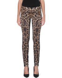 Roberto Cavalli Leopardprint Skinny Midrise Jeans Brown - Lyst