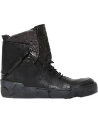 A.s.98 - Embossed Leather High Top Trainers - Lyst