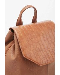 Deena & Ozzy - Croc Angular Backpack In Tan - Lyst