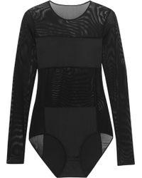 By Malene Birger Filosyfi Stretch Jerseypaneled Mesh Bodysuit - Lyst