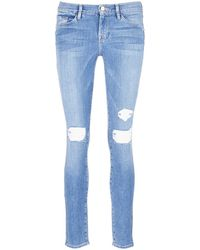 Frame Denim   'le Skinny De Jeanne' Distressed Jeans   Lyst