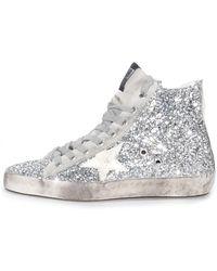 Golden Goose Deluxe Brand Silver Glitter Francy Sneaker - Lyst