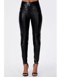 Missguided Anabel Pu Biker Trousers Black - Lyst