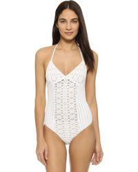 Nightcap - Spiral Lace One Piece Swimsuit - Lyst
