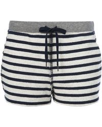 T By Alexander Wang Striped Terry Cotton Shorts - Lyst