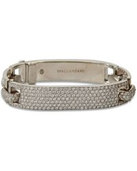 Spallanzani - Large Manette White Gold And Pave Diamonds Bracelet - Lyst