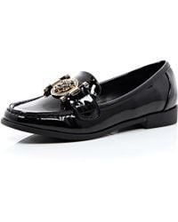 River Island Black Patent Tiger Front Loafers - Lyst
