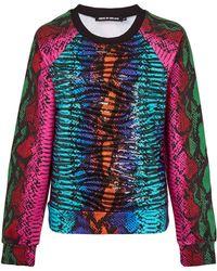 House Of Holland Blue Embellished Snake Print Cotton Sweatshirt - Lyst