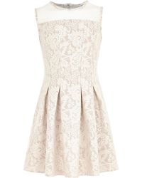 River Island Girls Cream Lace Fit and Flare Dress - Lyst