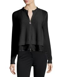 Moncler   Perforated Zip-front Layered Cardigan   Lyst