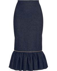 Alexis Mabille | Denim Fit-and-flare Zipper Skirt | Lyst