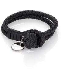 Bottega Veneta Doublerow Leather Woven Bracelet - Lyst