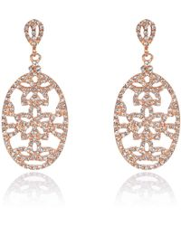 River Island Rose Gold Plated Diamante Drop Earrings - Lyst