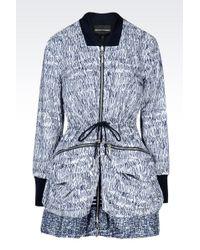 Emporio Armani Reversible Pea Coat In Printed Nylon - Lyst