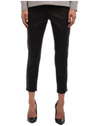 Tibi Edie Tropical Wool Leather Panel Skinny Pants - Lyst