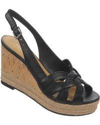 Franco Sarto Kris Leather Wedge Sandals - Lyst