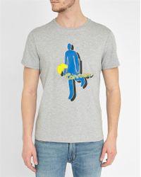 Carven | Mottled-grey Stick-figure Pattern Round-neck T-shirt | Lyst