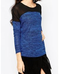 Wal-G - Knitted Top With Sheer Insert - Lyst