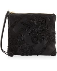 Valentino Lace & Bead Embellished Wristlet Bag - Lyst