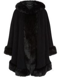 Jacques Vert - Hooded Faux Fur Cape - Lyst