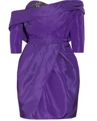 Vera Wang Embellished Silk-taffeta Dress - Lyst