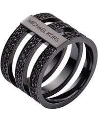 Michael Kors Pavéembellished Blacktone Ring - Lyst