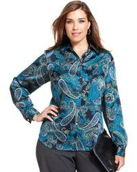 Jones New York Collection Plus Size Paisleyprint Shirt - Lyst