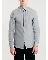 Topman Selected Homme Grey Long Sleeve Shirt - Lyst