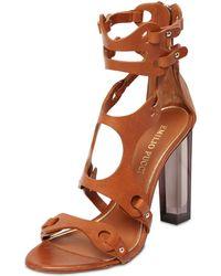 Emilio Pucci 110Mm Calfskin Sandals W/Plexiglass Heel - Lyst