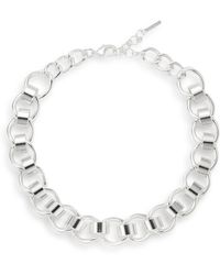Nine West - Sculpted Link Necklace/silvertone - Lyst