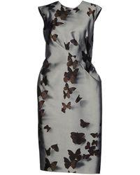 Lanvin Satin Light Grey Knee Length Dress - Lyst