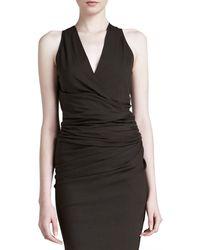 Donna Karan New York Sleeveless Draped V-Neck Top - Lyst