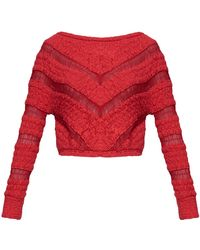 Jay Ahr - Red Cotton Boatneck Sweater - Lyst