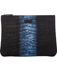 Fendi Crocodile-Print Large Zip Pouch - Lyst