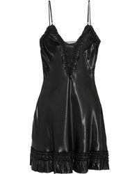 Alexander McQueen Ruffletrimmed Satin Mini Dress - Lyst