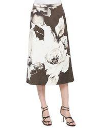 Lafayette 148 New York Zarita Vintage Roses Printed Tea-Length Skirt - Lyst