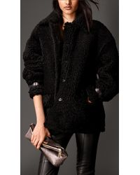 Burberry Oversize Shearling Coat With Nappa Leather Trim - Lyst