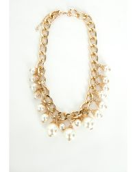 Missguided Chain Pearl Necklace Gold - Lyst
