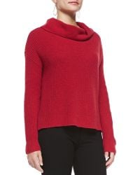 Eileen Fisher Super-soft Funnel-neck Ribbed Top - Lyst