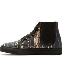 Versus  Black and Gold Chain Print Sneakers - Lyst