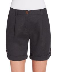 Eileen Fisher Rolled Linen Shorts - Lyst