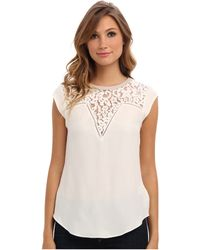 Rebecca Taylor Short Sleeve Lace Mix Top - Lyst