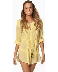 Vix Solid Yellow Naya Chemise Dress - Lyst