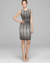 Vera Wang Dress Sleeveless Striped Sheath - Lyst