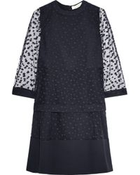 Chloé Polka Dot Embroidered Tulle and Crepe Dress - Lyst