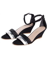 Loeffler Randall Black and White Addie Wedge - Lyst