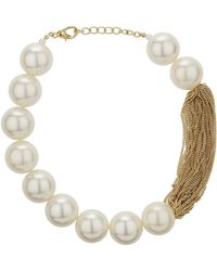 Topshop Mega Pearl and Chain Collar - Lyst