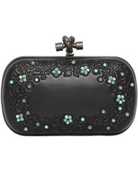 Bottega Veneta Knot Leather Clutch With Stones - Lyst