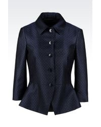 Emporio Armani Peplum Jacket in Wool and Cotton - Lyst